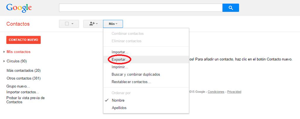 pasar contactos de iPhone a Android con Gmail