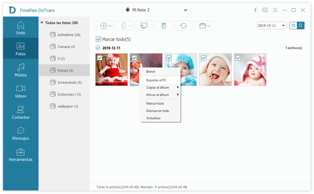 Exportar fotos de Xiaomi