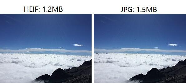 formato HEIF vs JPG