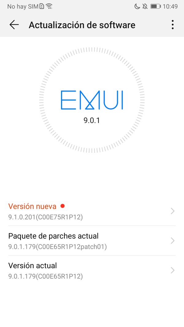 Huawei aktualizar EMUI en el teléfono