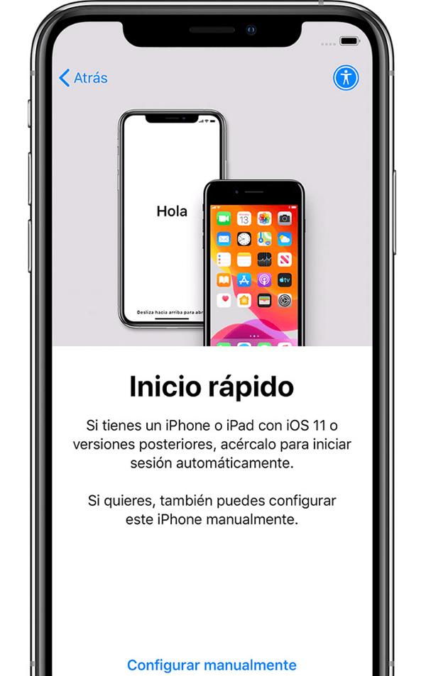 iPhone Inicio Rápido configurar manualmente