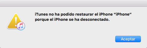 iTunes no ha podido restaurar iPhone porque el iPhone se ha desconectado