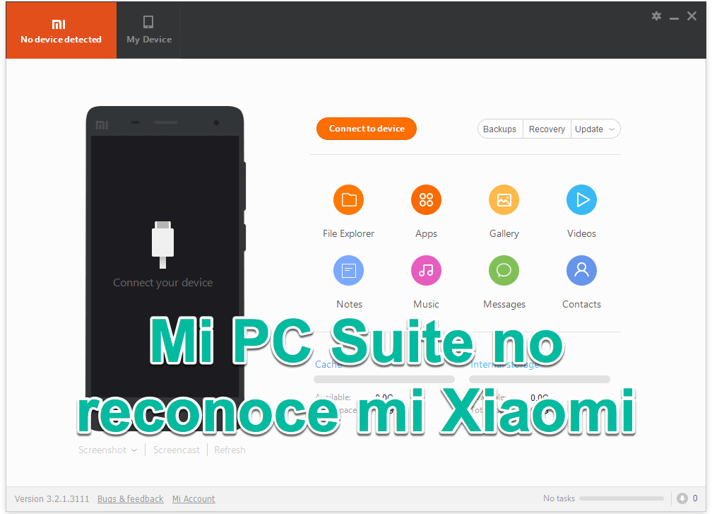 Mi PC Suite no renococe mi Xiaomi