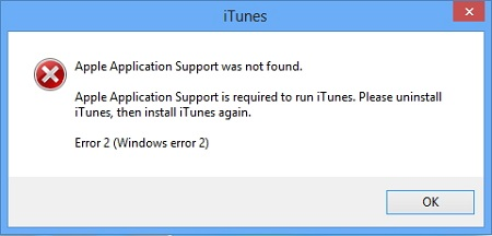 no se encontró Apple Application Support