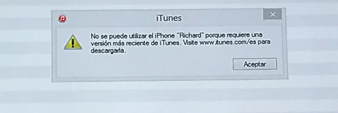 no se puede utilizar el iPhone porque requiere una versión reciente de iTunes
