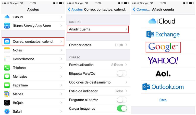 pasar contactos de Samsung a iPhone con cuenta de Google