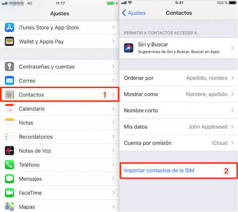 exportar contactos de Samsung a iPhone de tarjeta SIM