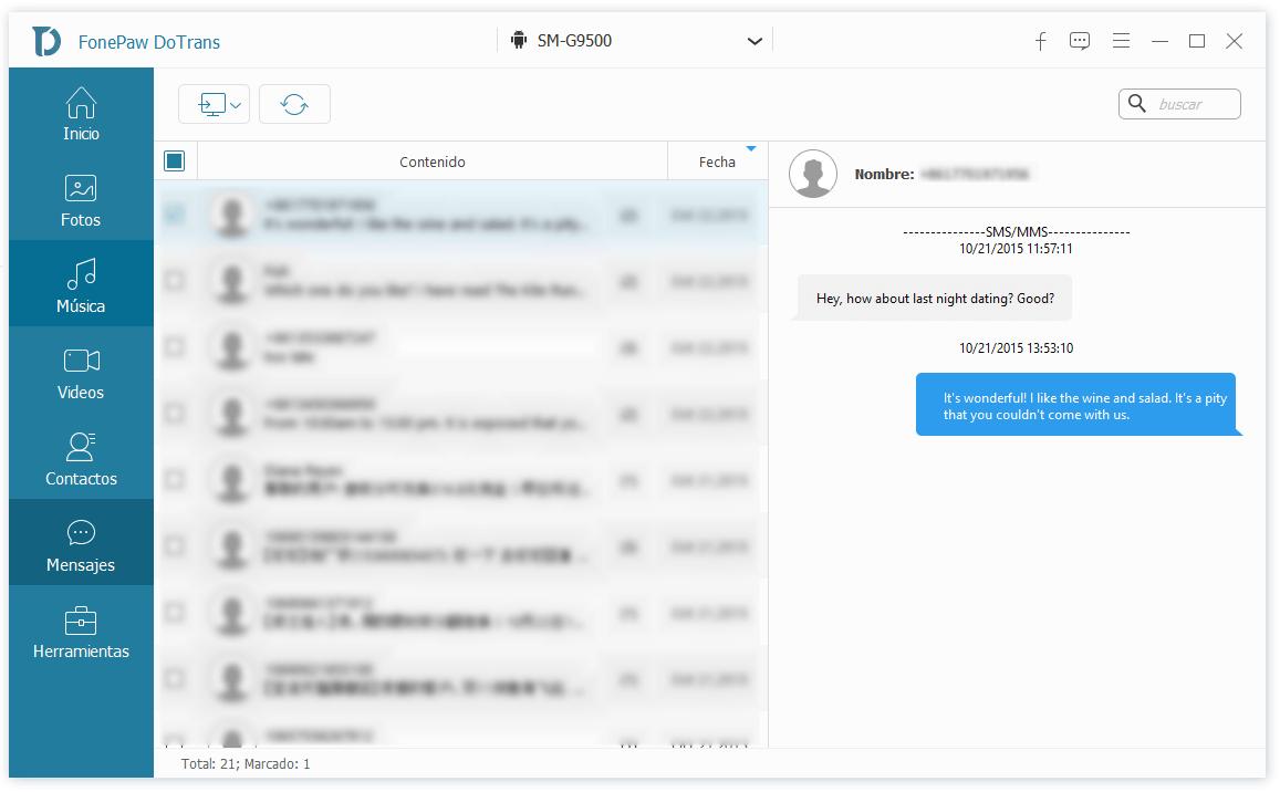exportar mensajes de Android