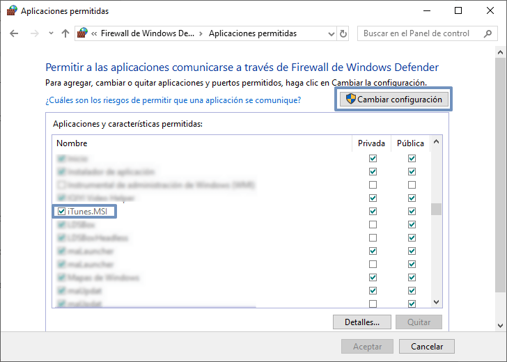 permitir iTunes comunicarse a través de Firewall de Windows Defender