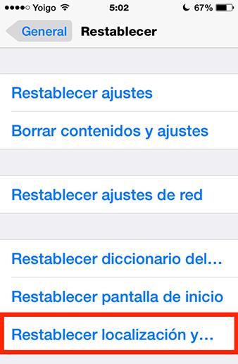 restablecer localización y privacidad de iPhone