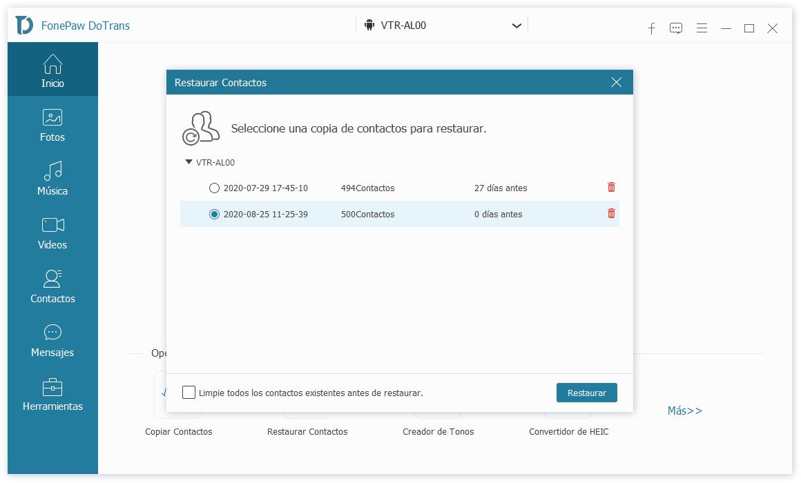 Restaurar contactos de backup