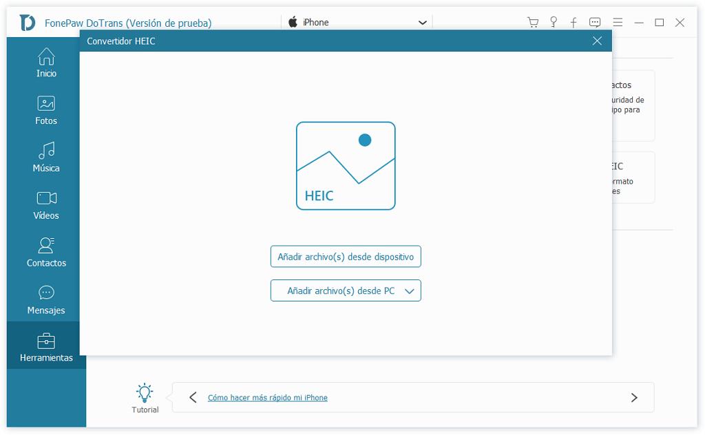seleccionar archivos en Convertidor HEIC