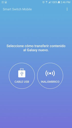seleccionar modo de transferencia en Smart Switch