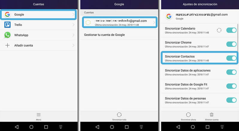 sincronizar contactos de Android en Google
