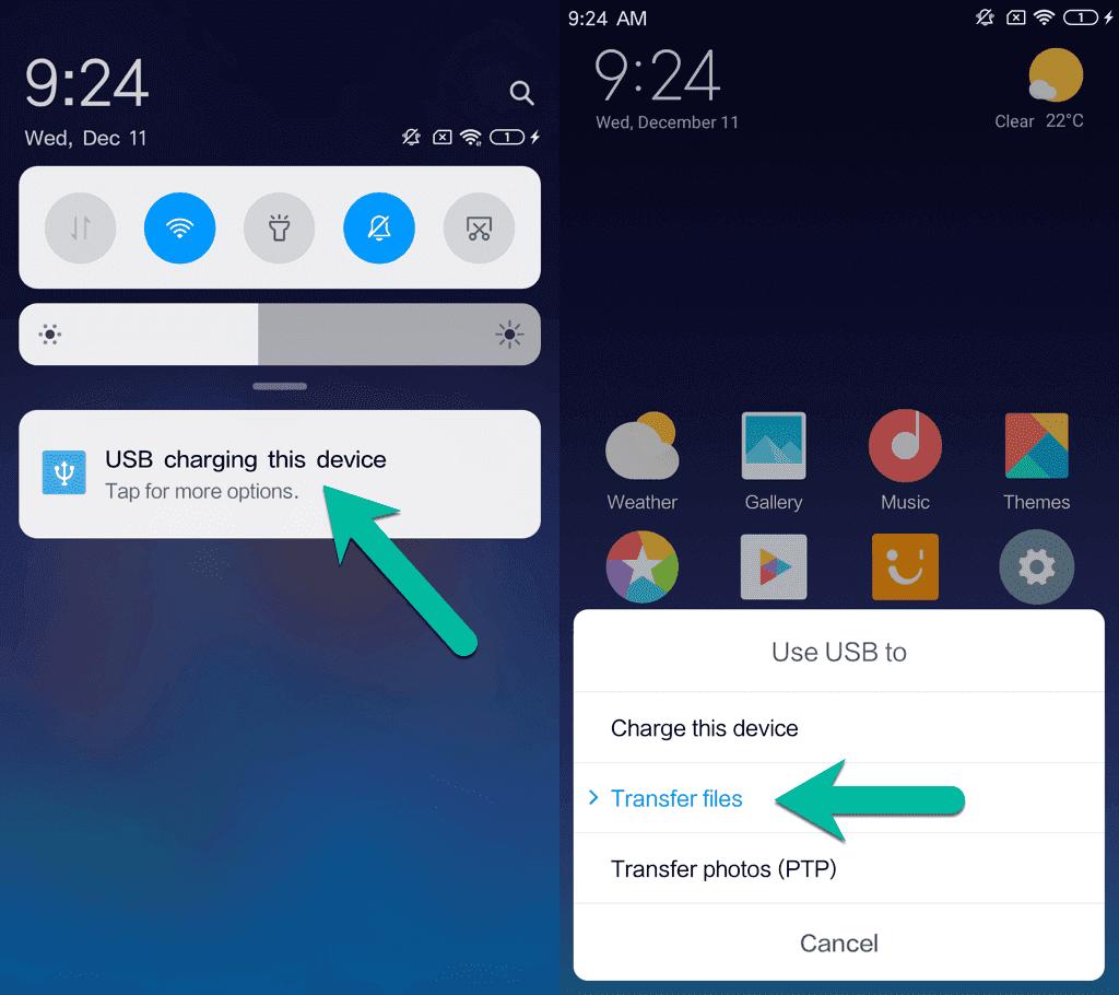 Utilizar USB para transferir archivos