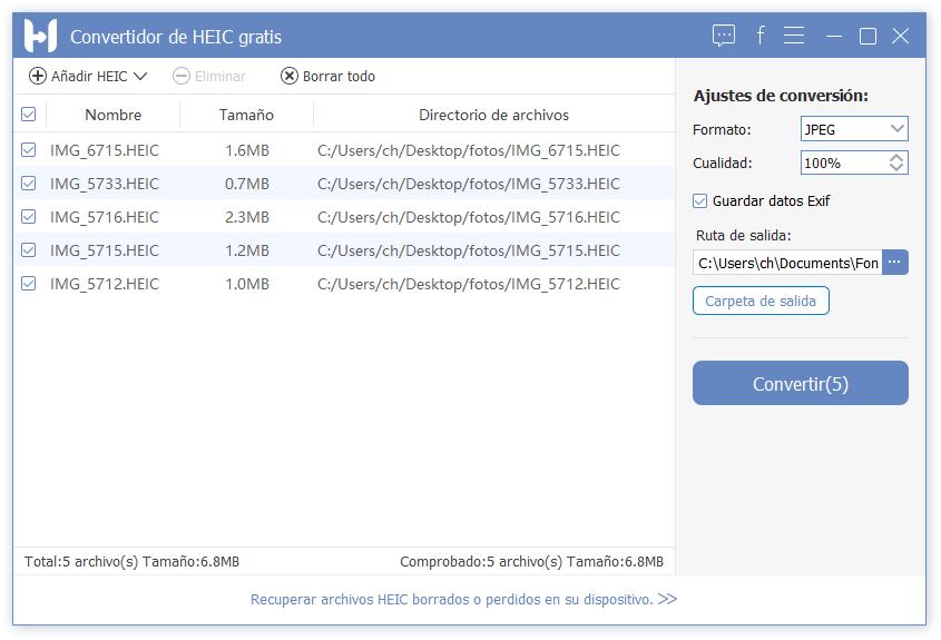 Añadir imágenes de HEIC
