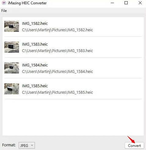 convertir HEIC con iMazing Convertidor HEIC
