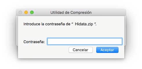 introducir contraseña de zip encriptado
