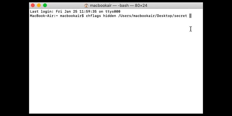 crear carpeta oculta con Terminal Mac