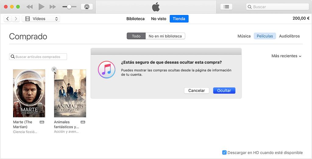 ocultar películas compradas en iTunes
