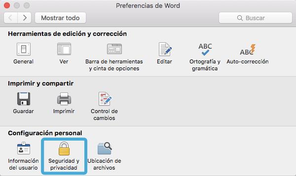 seguridad y privacidad de documento Word en Mac