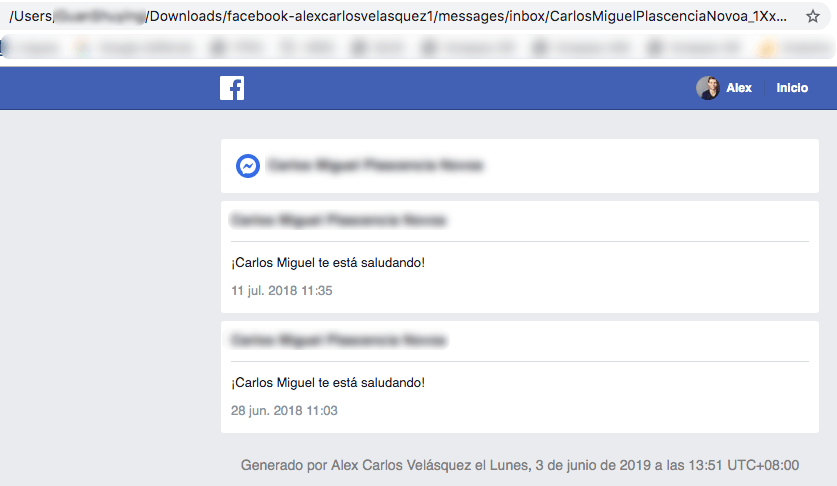 ver los mensajes descargados de Facebook Messenger