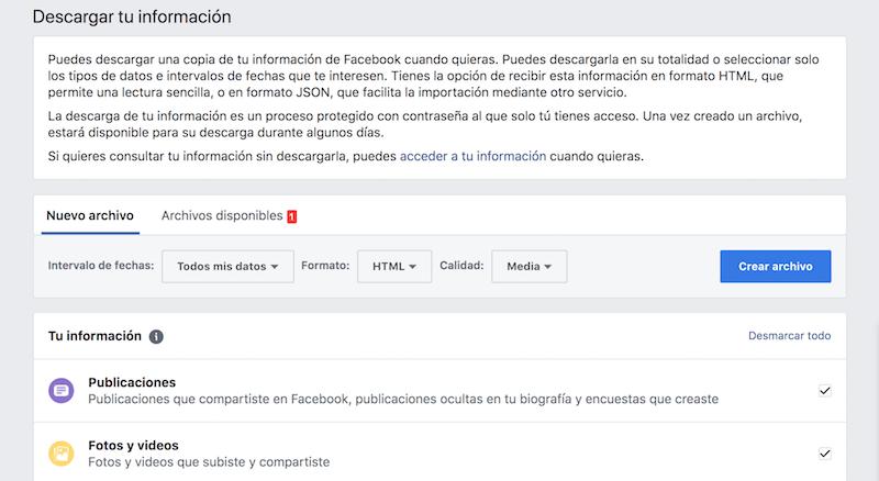 descargar copia de tu información Facebook