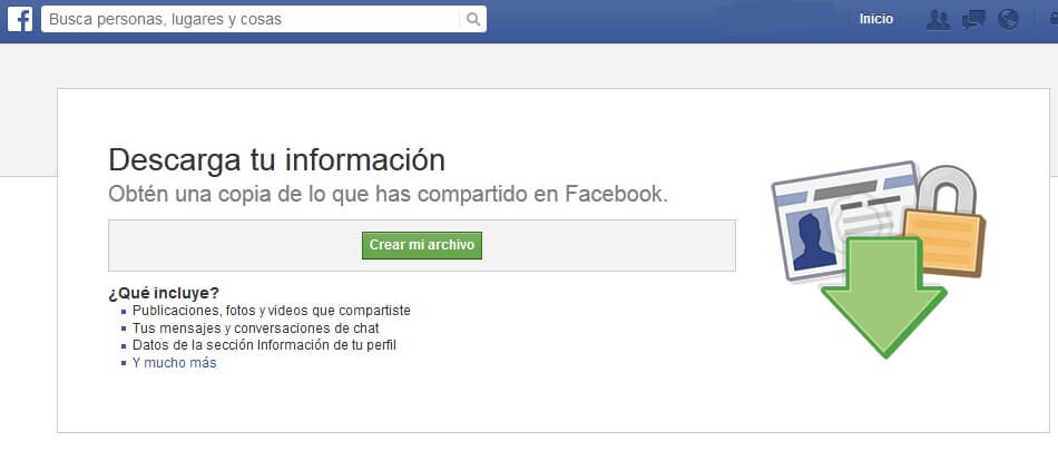 descargar información de Facebook