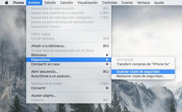 Guardar copia de seguridad iTunes