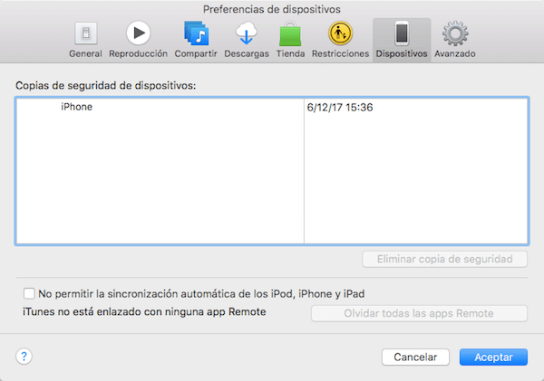 Preferencia de dispositivo iTunes