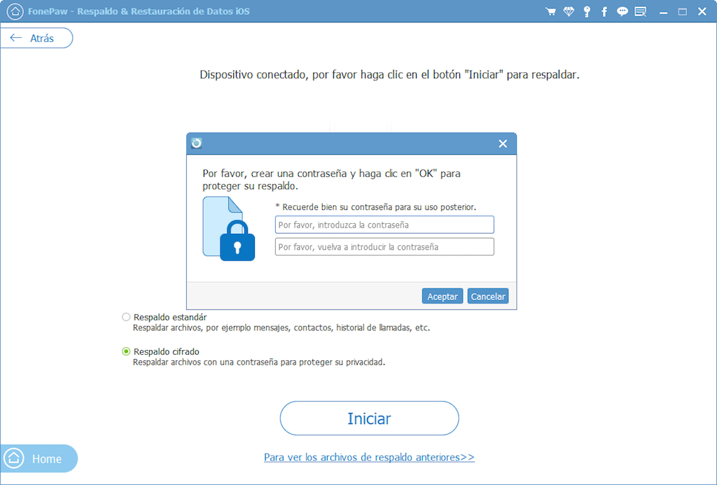 cifrar la copia de seguridad de Facebook Messenger