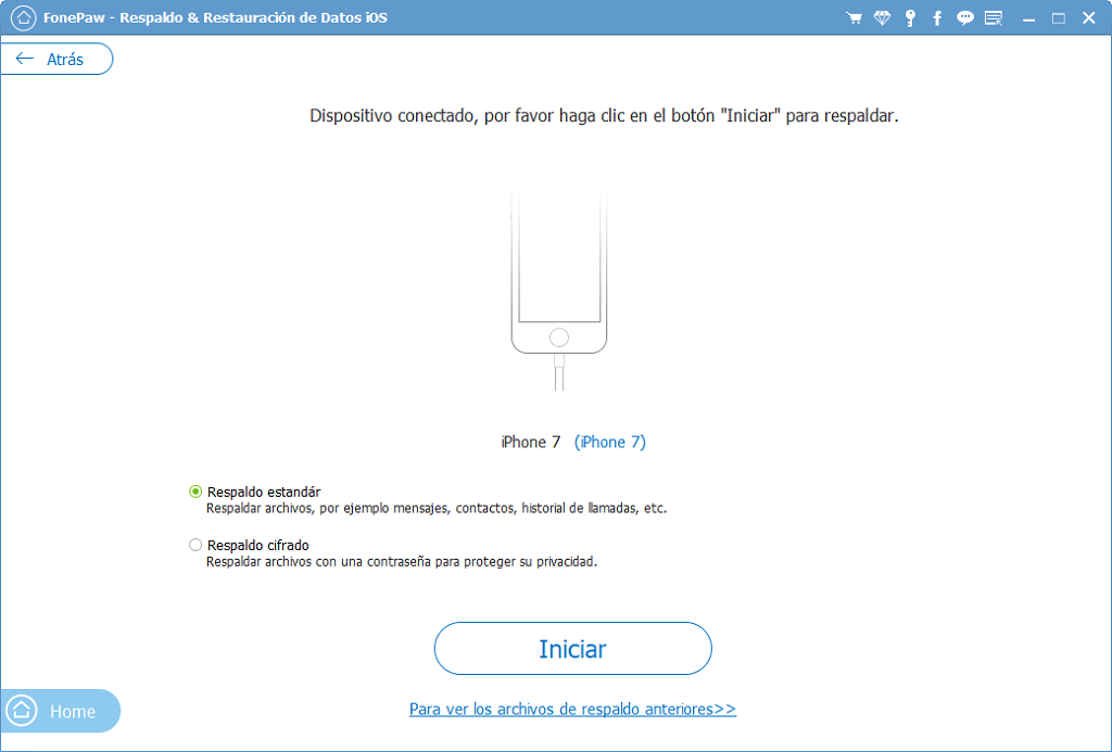 copia de seguridad estándar de Facebook Messenger