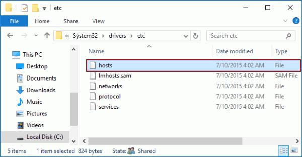 abrir el archivo hosts