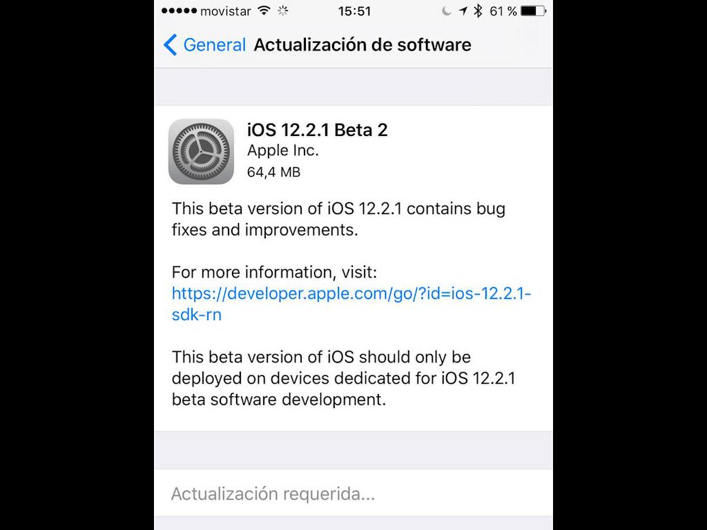 actualización requerida de iOS