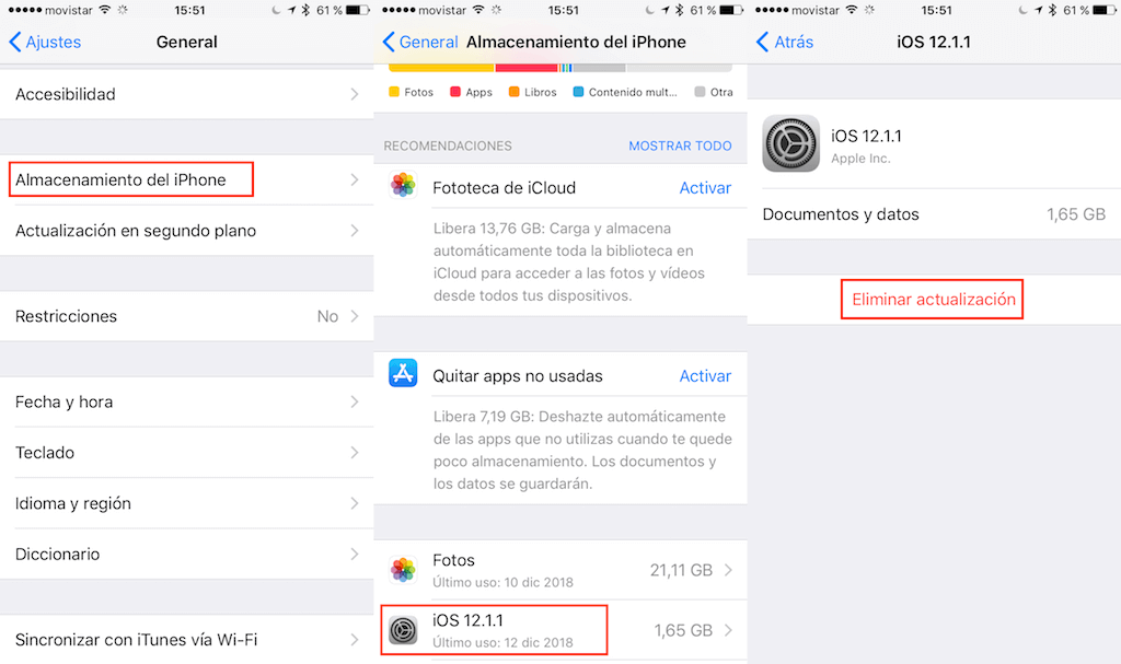 eliminar actualización requerida de iPhone