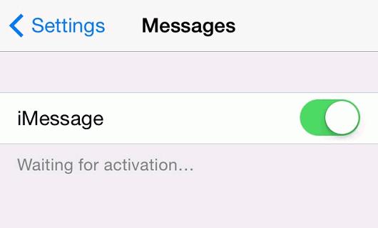 esperando a activar iMessage