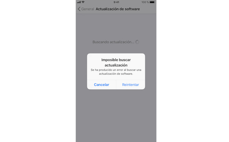 imposible buscar actualización iPhone