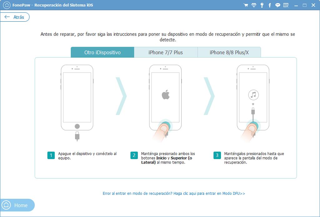 entrar en modo de recuperación para desbrickear iPhone