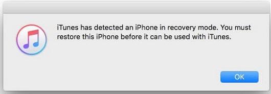 iTunes detectado en modo recuperación