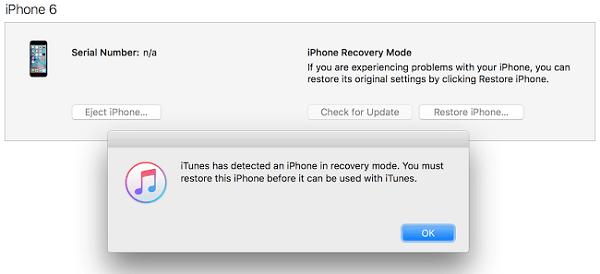 Poner iPhone en modo de recuperación
