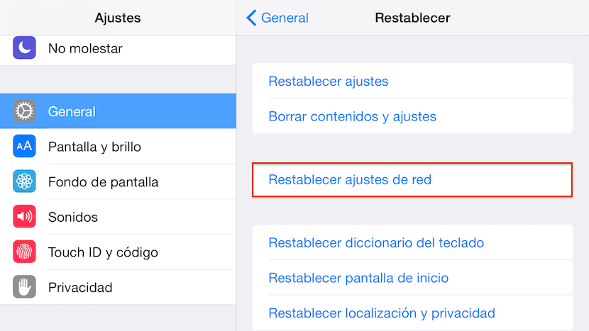 restablecer ajustes de red iPhone