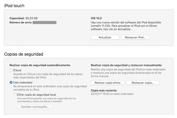 restaurar ipod touch con itunes