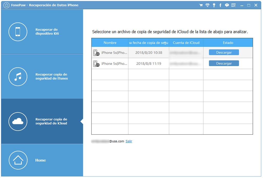recuperar copia de seguridad de iCloud
