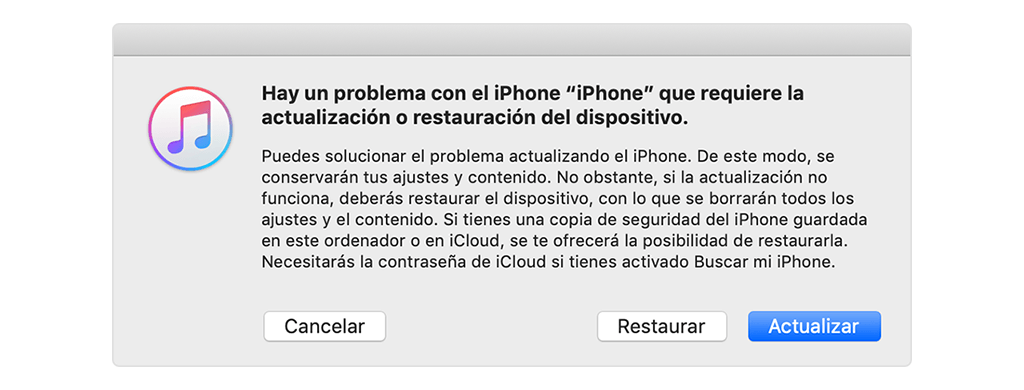 solucionar problema actualizado de iPhone