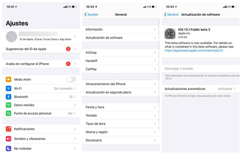 Actualizar iOS del iPhone