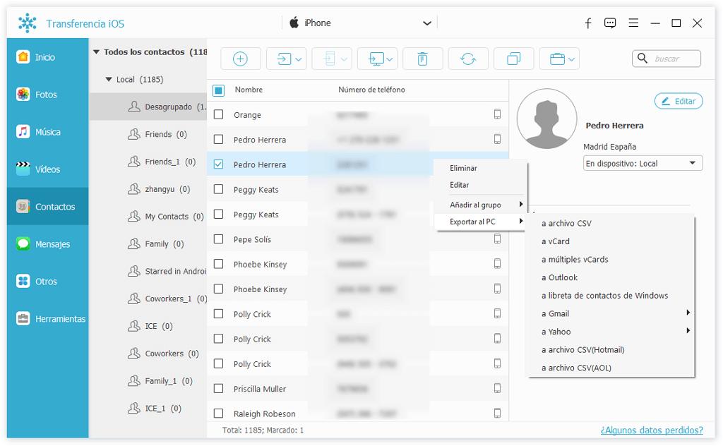 Seleccionar contactos para exportar
