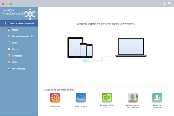 Interfaz de FonePaw Transferencia iOS