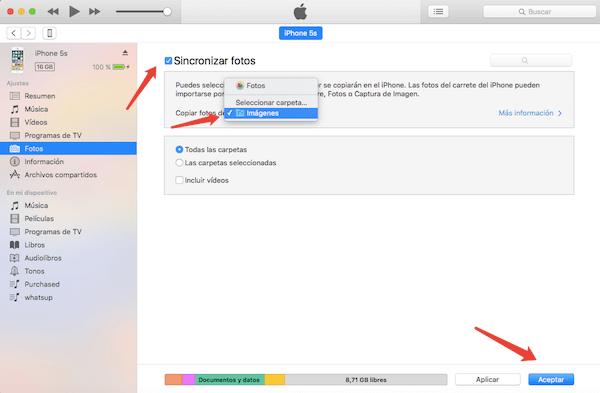 Sincronizar fotos a iPhone con iTunes