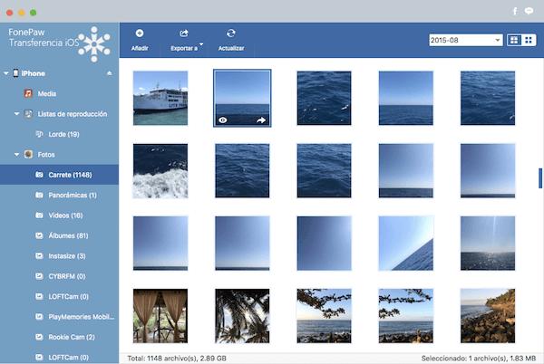 Visualizar fotos de carrete