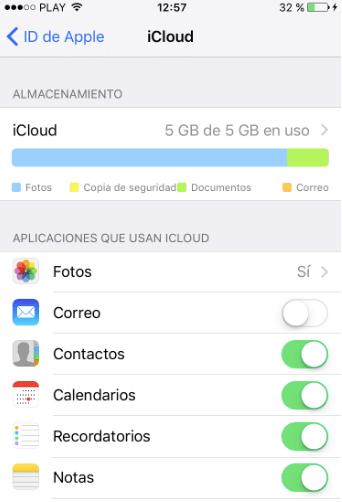 activar Notas en iCloud